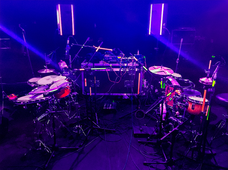 A portion of HHY & the Macumbas' stage setup, minus the personnel