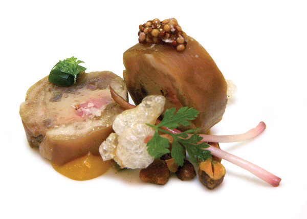 Braised pig's foot with white pudding, fried pork tendon, and ramp aspic