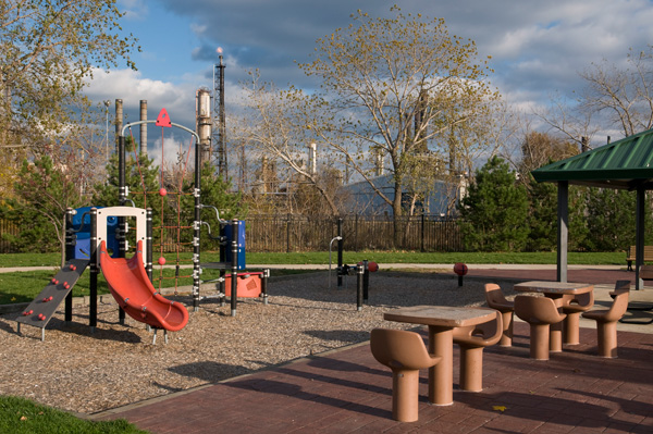 Children's playground in Whiting, with the refinery in the background