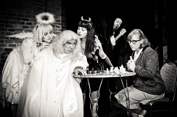 Beau O'Reilly and minions in Curious Theatre Branch's <i>Playing God</i>