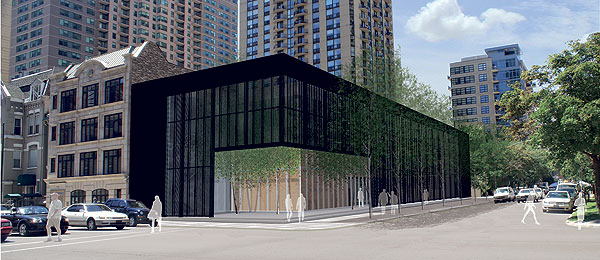 Architect's rendering of the new building at Dearborn and Superior