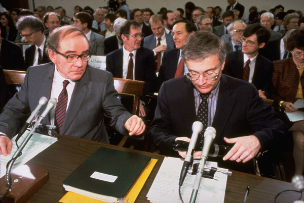 Stanley Pons and Martin Fleischmann testifying before the House Committee on Science and Technology in 1989