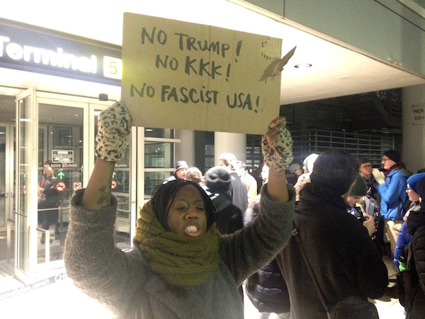 Protesters outside Terminal 5