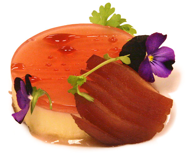 Creme fraiche panna cotta with poached quince slices and quince gelee
