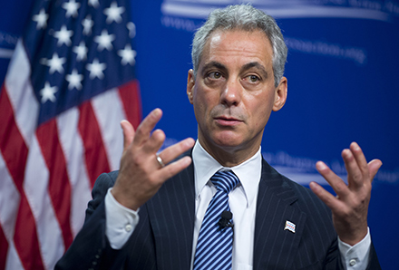 Emanuel, speaking about policies to reduce gun violence, during one of his not-so-rare trips to Washington, D.C., earlier this month.