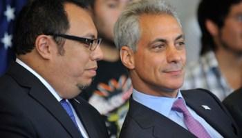 CEO of UNO Juan Rangel and Mayor Rahm Emanuel