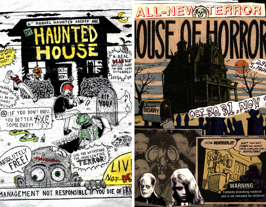 Posters promoting the sixth and second annual haunted houses at Rancho Huevos