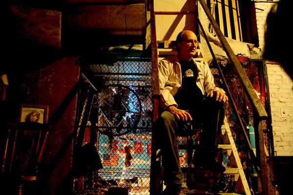 Ellingsen on the steps at Mortville, a DIY space in Little Village that's since shut down