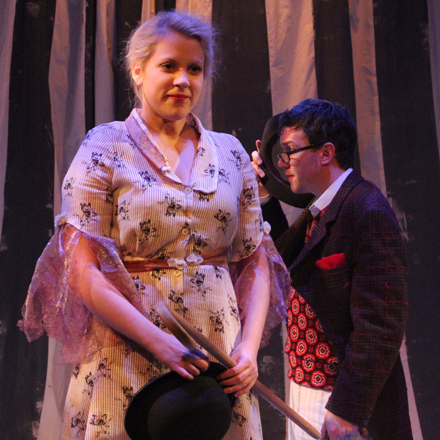 Meredith Ernst as Ophelia and Gage Wallace as Hamlet