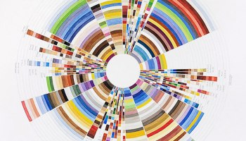 """Richard Garrison, <i>Circular Color Scheme Walmart, May 2 – 8, 2010, Page 1, 'Rollback'</i> 2010. In his """"Circular Color Schemes and Product Package"""" series Garrison charts the frequency and function of the colors used in marketing consumer goods to the public."""
