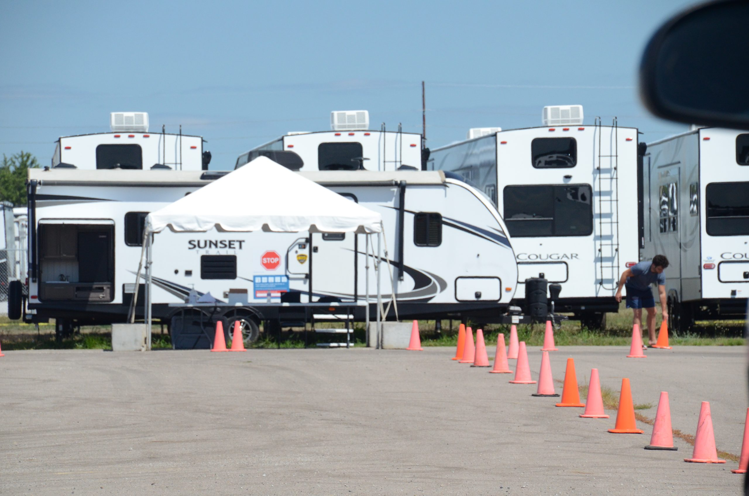 A COVID-19 testing site outside a Keystone RV plant.