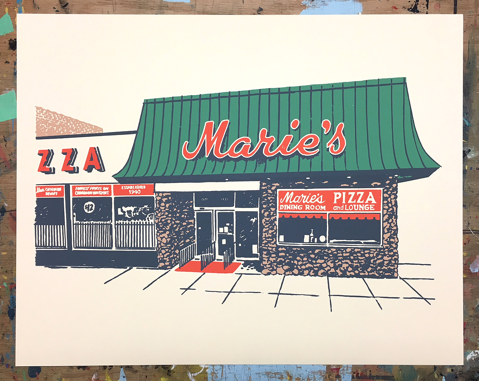 One of the Chicago-inspired pieces of art to be displayed at the Pizza Summit
