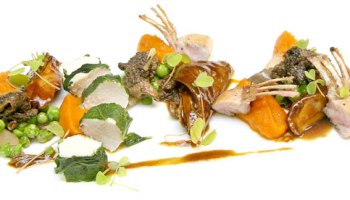 Three-way rabbit with sassafras, carrots, and spring vegetables