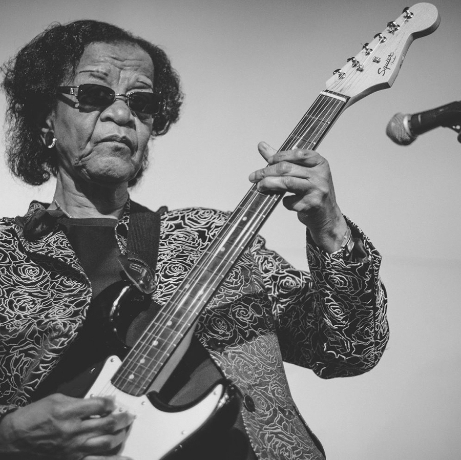 """Beverly """"Guitar"""" Watkins in the Instagram feed of <i>She Shreds Magazine</i>, which is posting a different black woman guitarist every day of Black History Month"""