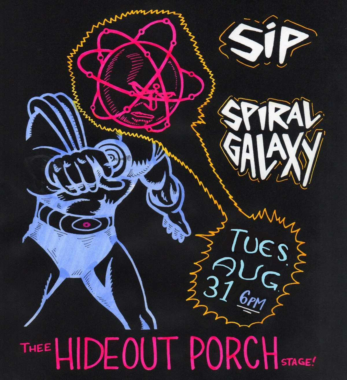 Hand-drawn poster for a Hideout show by Spiral Galaxy and SiP