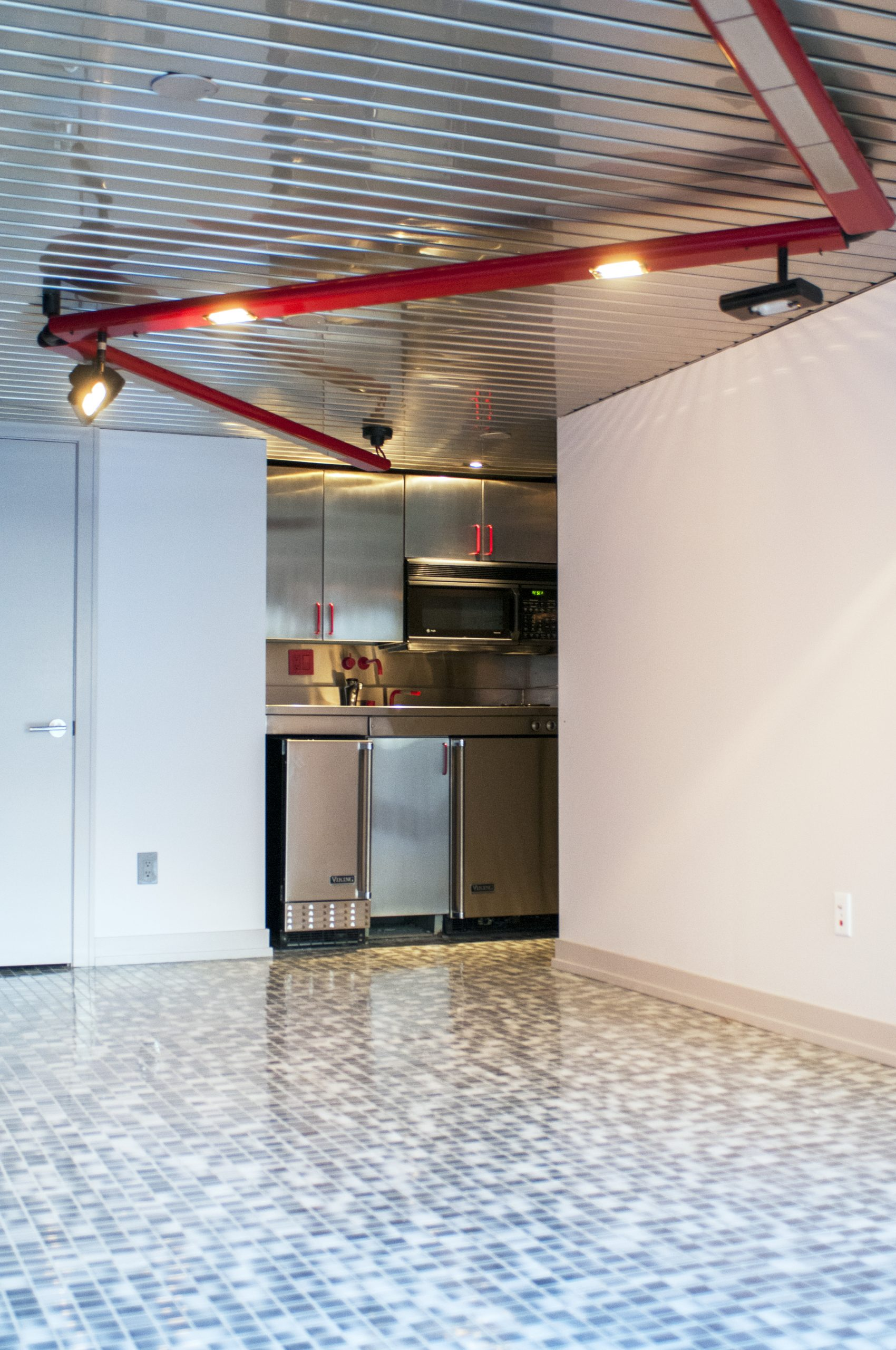 Weese designed the ground floor to feel like the lower deck of a ship.