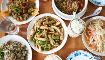 Clockwise from top left: beef <i>pad taming</i>, <i>kow tome</i> (breakfast soup), <i>som tam</i> (papaya salad), <i>pad cha</i> (squid), and the powerfully funky and spicy jackfruit salad.