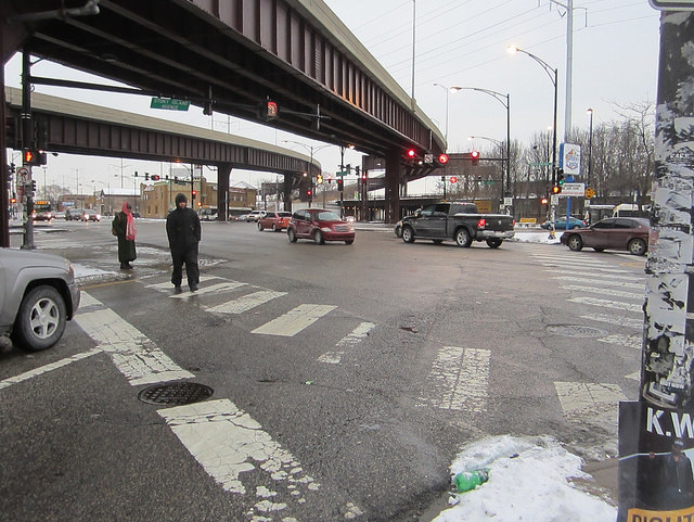 The six-way intersection of Stony, 79th, and South Chicago, located below Skyway access ramps.