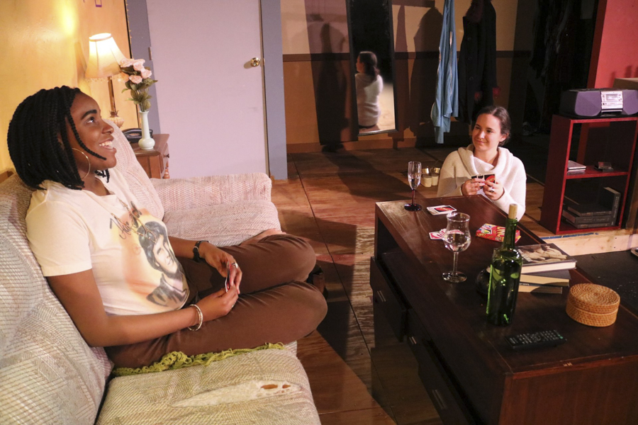 Winter Sherrod and Jackie Seijo in the Cuckoo Theater Project's <i>Stop Kiss</i>