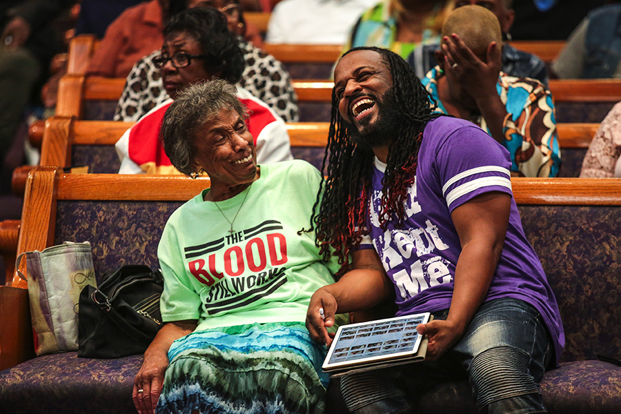 At Greater Harvest Baptist Church, Mama Lou jokes with her protege Malcolm Williams, who directs a choir for Gospel Music According to Chicago.