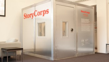 The StoryCorps booth, new to the Chicago Cultural Center