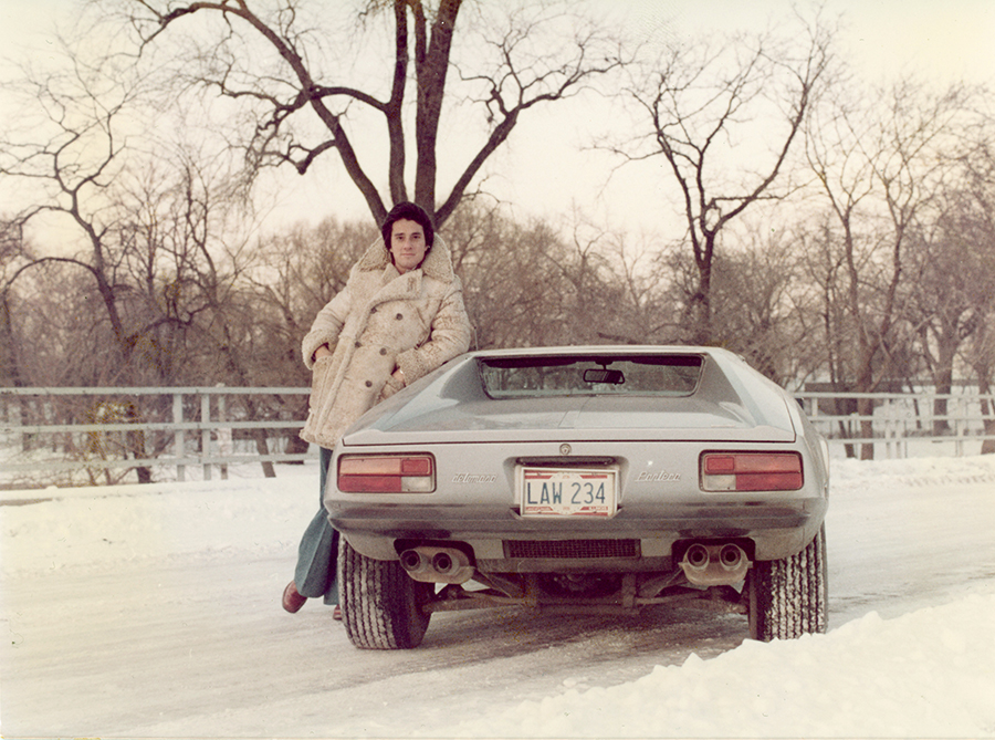 """Goldberg circa mid-70s with a 1974 De Tomaso Pantera. Illinois Appellate Court justice Aurelia Pucinski remembers meeting Goldberg at John Marshall Law School in 1973, as he was preparing to graduate. He sat next to her on her first day of class, and """"I thought, OK, he's a really hot guy,"""" she says."""