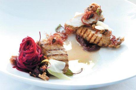 Spirulina-encrusted smoked sturgeon, roasted oyster mushrooms, white turnips, preserved lemon butter