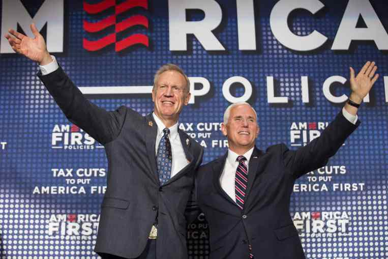 Governor Bruce Rauner introduced vice president Mike Pence at the Westin O'Hare in Rosemont Friday afternoon.