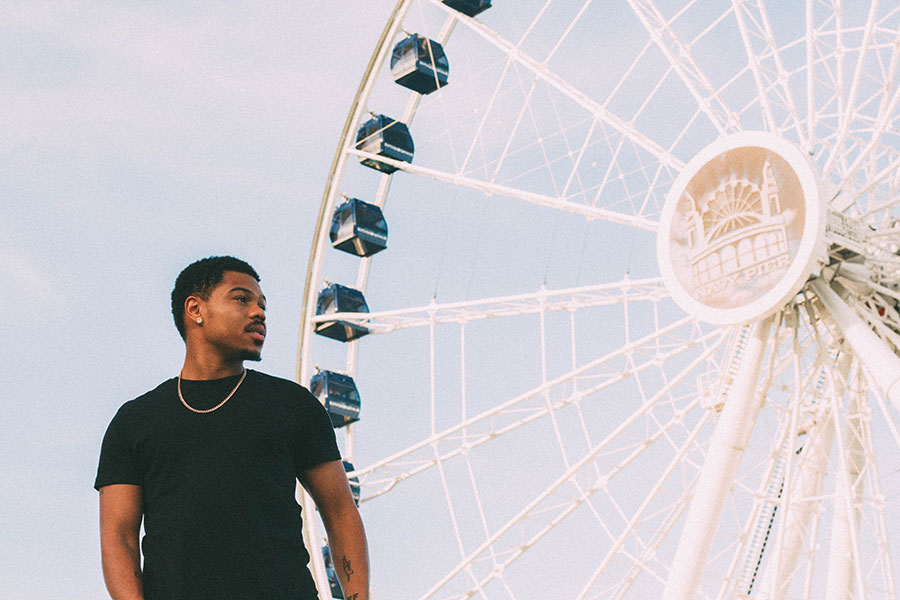 Taylor Bennett and the renovated Ferris wheel at Navy Pier