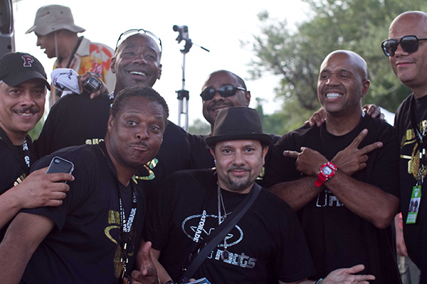 """Top row, left to right: Alan King, Tony Hatchett, Andre Hatchett, guest DJ Kevin Hedge, and Wayne Williams. Bottom row: Jessie Saunders and guest DJ """"Little"""" Louie Vega."""
