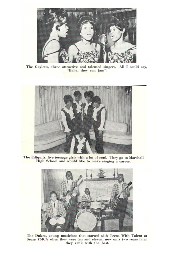 Teens With Talent bands: the Gayletts, the Ediquits, and Larry Blasingaine's group the Four Dukes