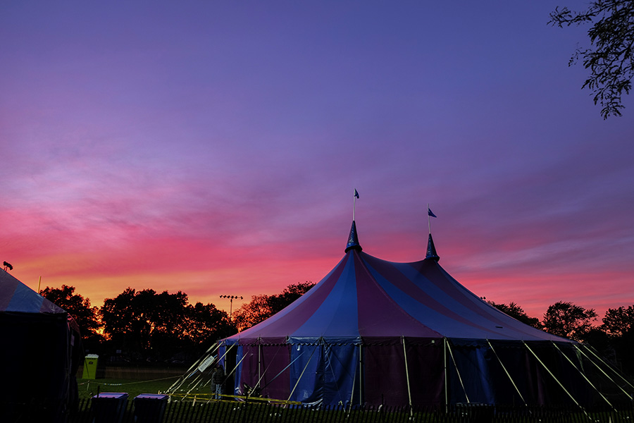 The Midnight Circus big top in Kosziusko Park