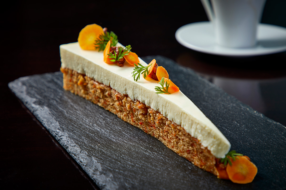 Carrot cake with sage-infused pastry cream.