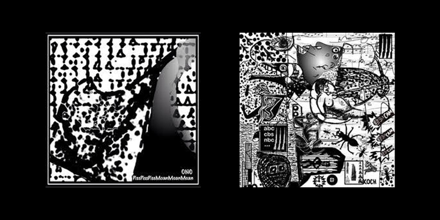 Travis's covers for the never-realized collaborative EP by Ono and Piss Piss Piss Moan Moan Moan