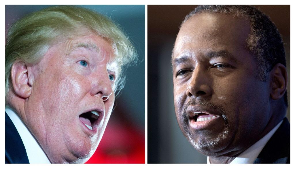 Republican presidential hopefuls Donald Trump and Ben Carson