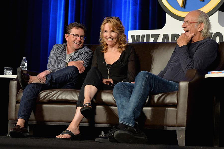 Michael J. Fox, Lea Thompson, and Christopher Lloyd at the <i>Back to the Future</i> reunion at Wizard World.