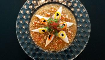 White tuna ceviche doused in lychee-yuzu vinaigrette