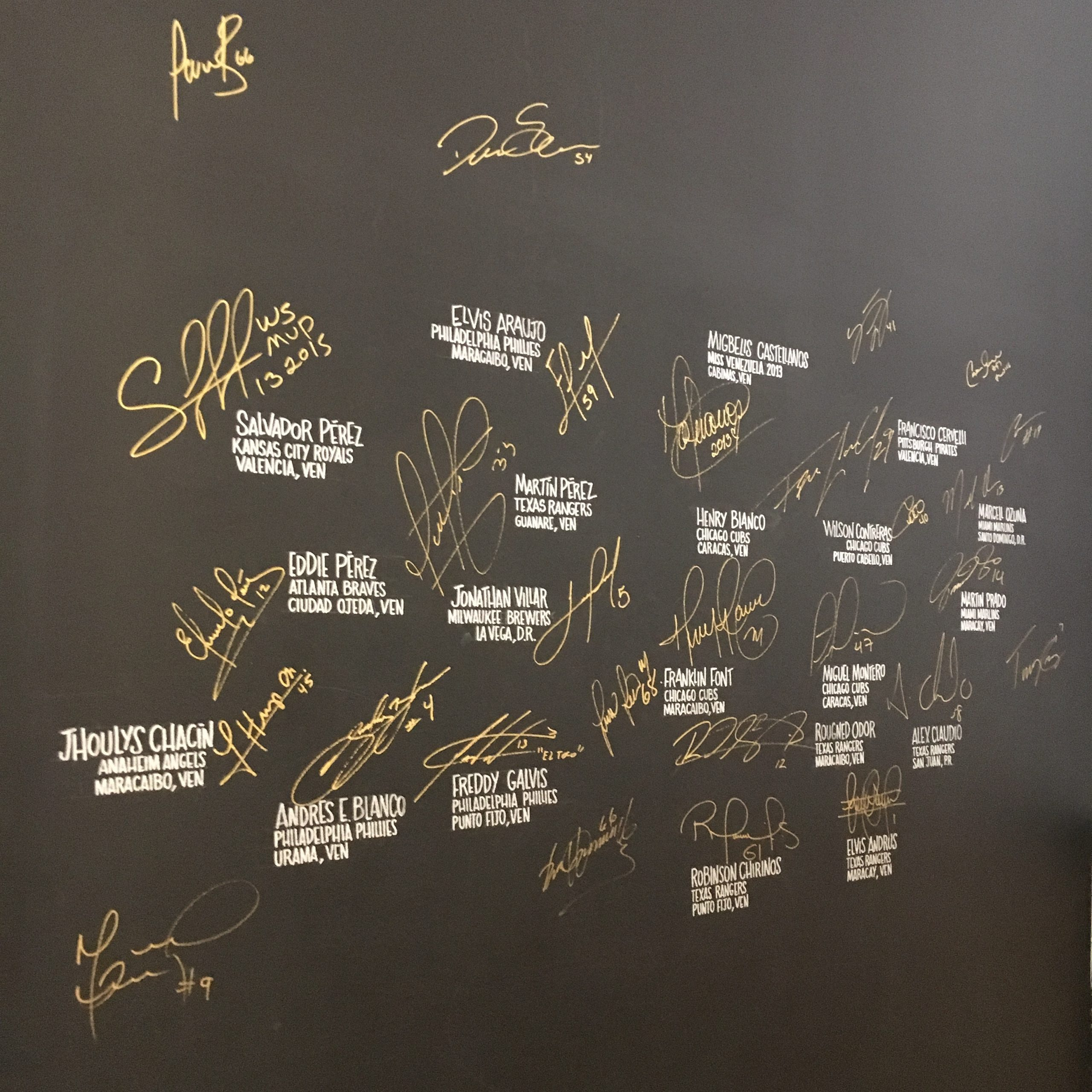 The wall of fame at Bienmesabe