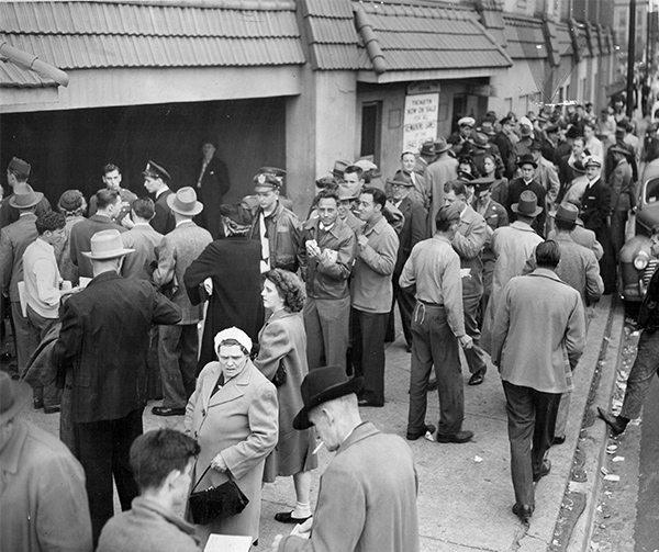 Cubs fans line up for tickets at the Wrigley Field box office before a September 1945 game with the Saint Louis Cardinals. The following month, the north-siders played in the World Series—their last appearance, to date.