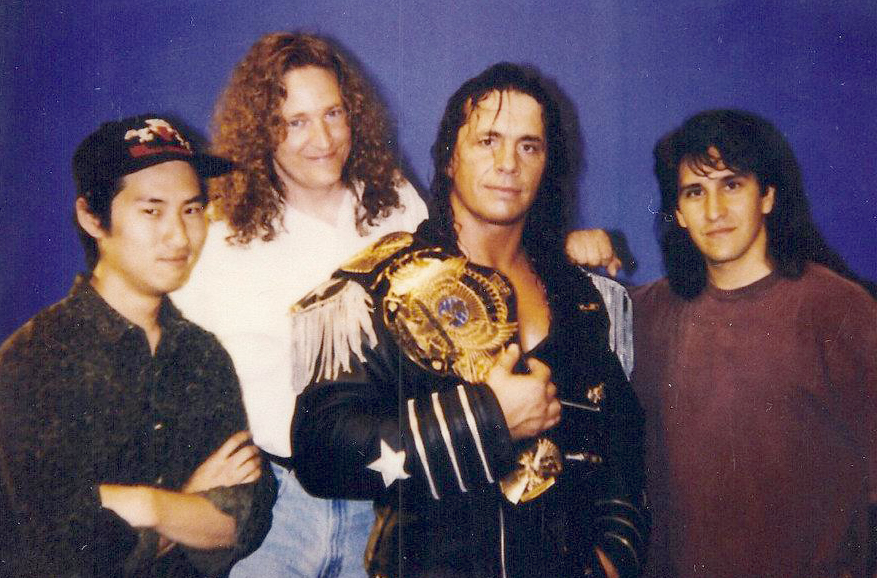 Tsui, far left, with professional wrestler Brett Hart