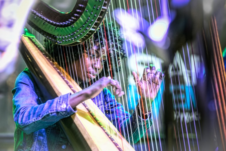 Harpist Brandee Younger performs with Makaya McCraven's band at the Hyde Park Jazz Festival.