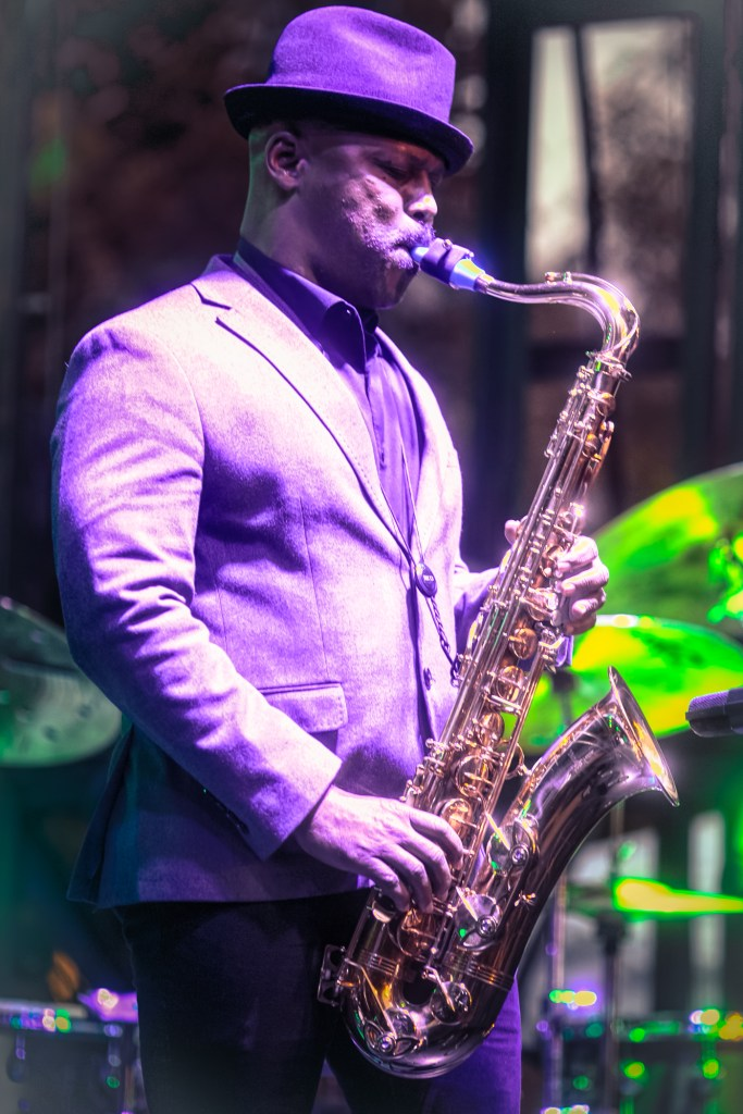 Saxophonist JD Allen plays with Isaiah Collier's band the 3-6 Project at the Hyde Park Jazz Festival.