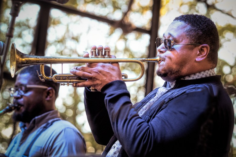 Trumpeter Marques Carroll leads his septet at the Hyde Park Jazz Festival.