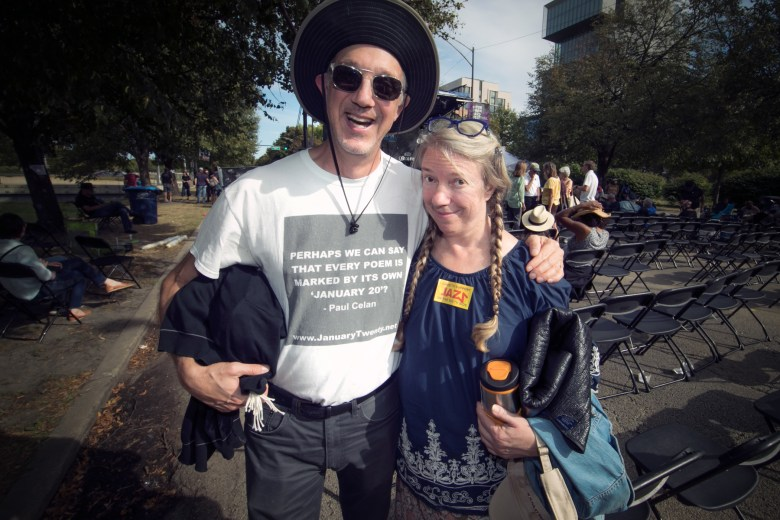 Fans Matthew Girson and Sarah Shirk at the Hyde Park Jazz Festival