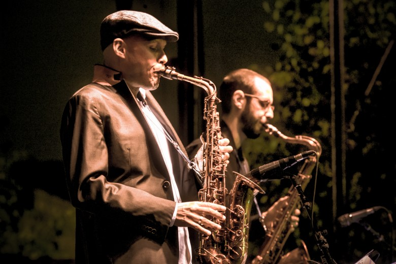 Saxophonists Miguel Zenón and Dustin Laurenzi perform with Juan Pastor's Chinchano at the Hyde Park Jazz Festival.