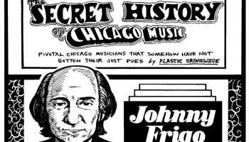 Portrait of jazz violinist Johnny Frigo embedded in the header for the Secret History of Chicago Music