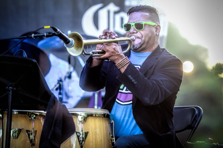 Trumpeter and percussionist Victor Garcia at the Hyde Park Jazz Festival