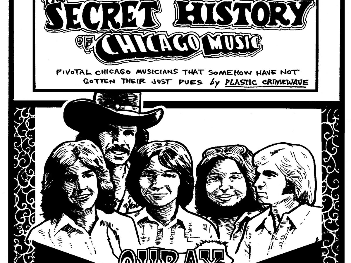 An illustration of country-rock band Ouray for the Secret History of Chicago Music, including the title of the feature and the name of the band