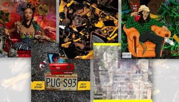 A collage of artwork for releases by Rita J, defprez, Aakeem Eshú, Pugz Atomz, and DaWeirdo