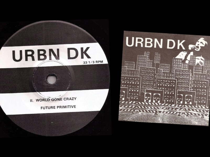 The B side hub label and front cover of the 1982 debut seven-inch by URBN DK